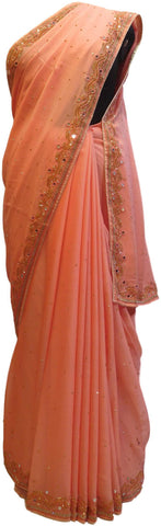 Peach Designer Wedding Partywear Georgette Mirror Beads Stone Hand Embroidery Work Bridal Saree Sari E050