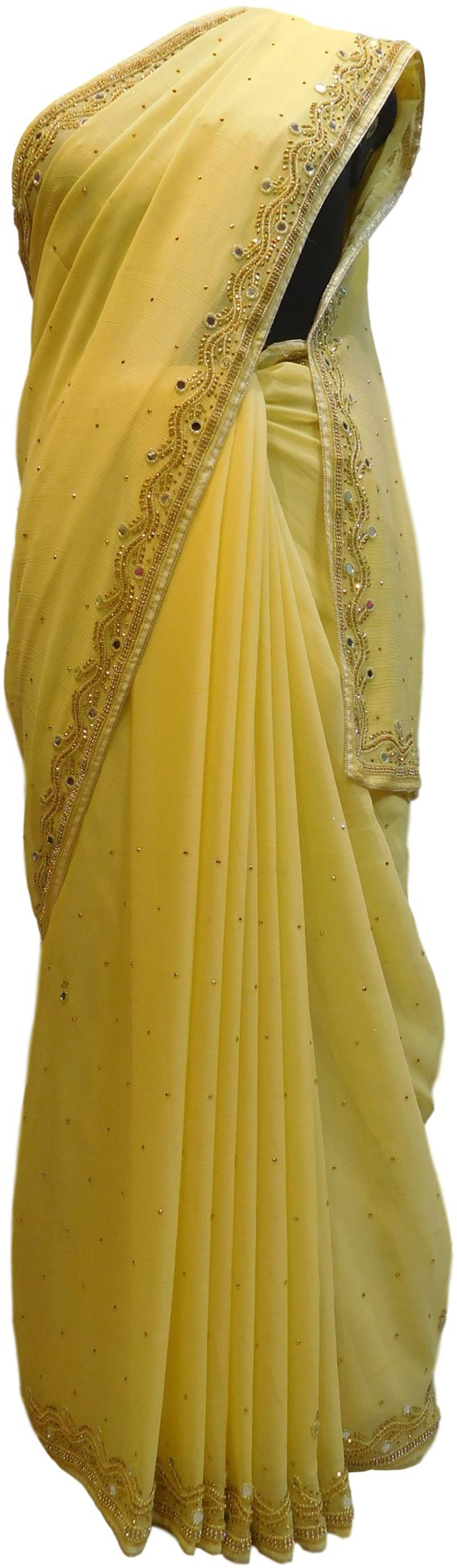 Yellow Designer Wedding Partywear Georgette Mirror Beads Stone Hand Embroidery Work Bridal Saree Sari E051