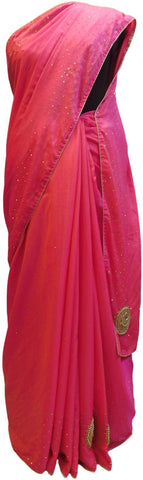 Pink Designer Wedding Partywear Silk Stone Beads Hand Embroidery Work Bridal Saree Sari E052
