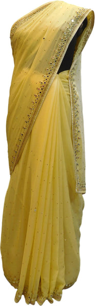 Yellow Designer Wedding Partywear Georgette Mirror Beads Stone Hand Embroidery Work Bridal Saree Sari E053