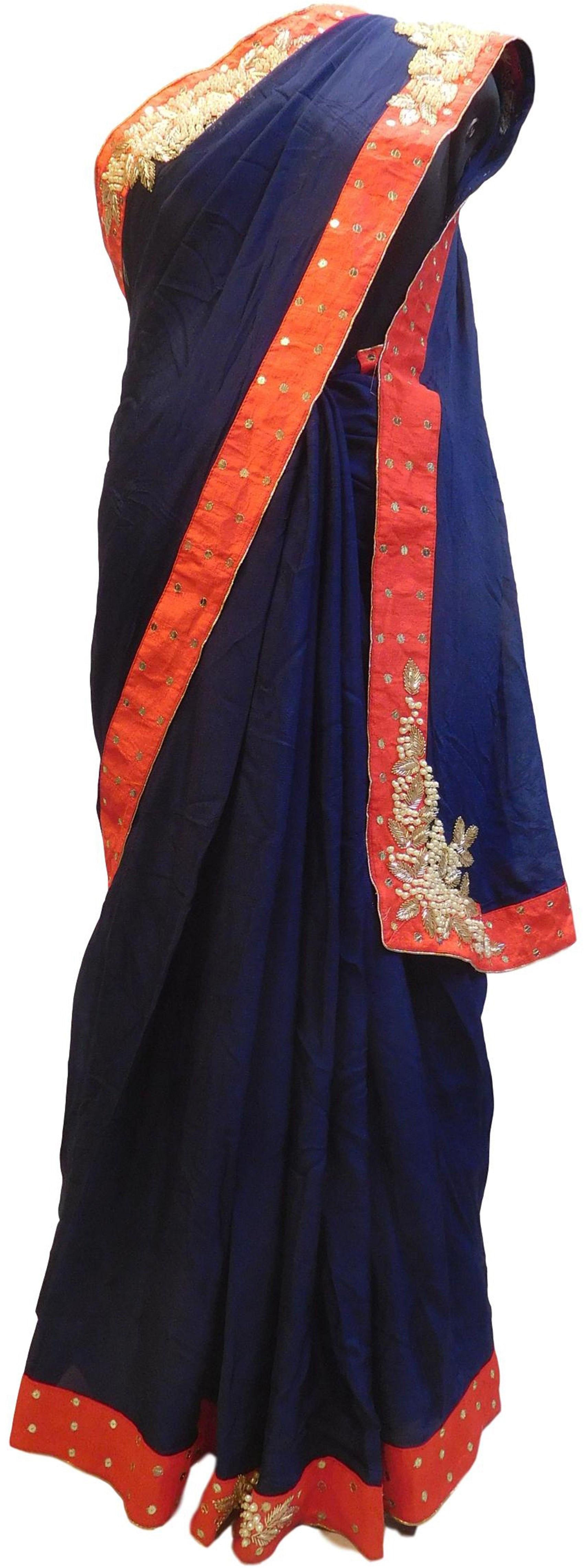 Blue Designer Wedding Partywear Crepe (Chinon) Bullion Pearl Sequence Cutdana Beads Hand Embroidery Work Bridal Saree Sari E056