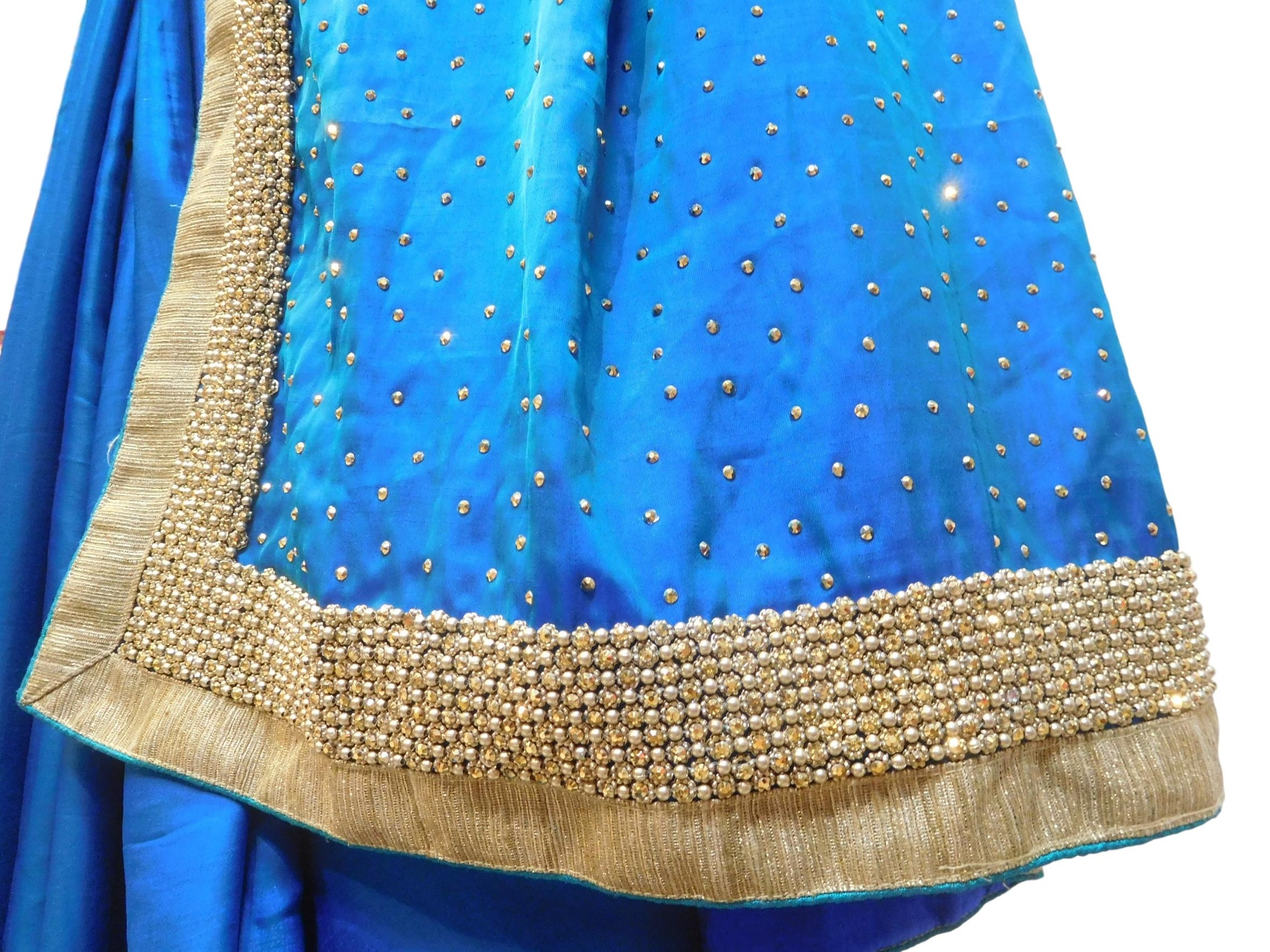 Blue Designer Wedding Partywear Silk Stone Beads Hand Embroidery Work Bridal Saree Sari E059
