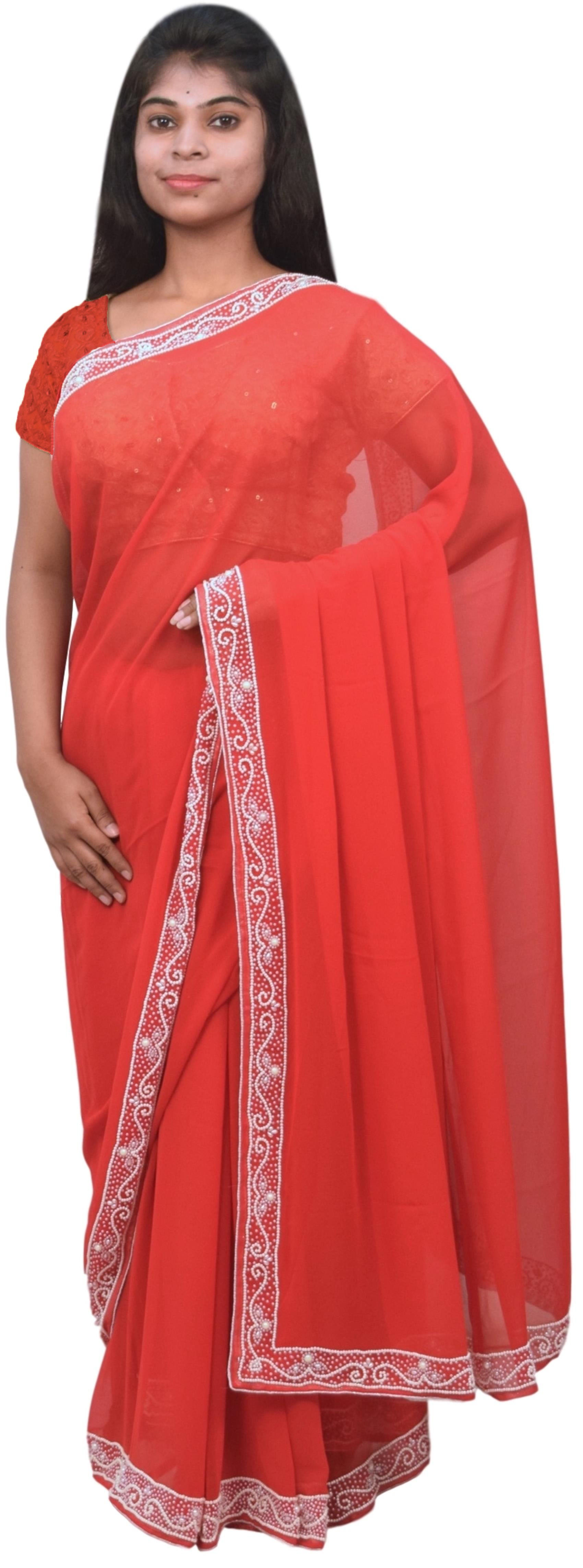 Red Designer Wedding Partywear Georgette Pearl Hand Embroidery Work Bridal Saree Sari E061