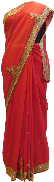 Red Designer Wedding Partywear Georgette Thread Cutdana Beads Stone Hand Embroidery Work Bridal Saree Sari E068