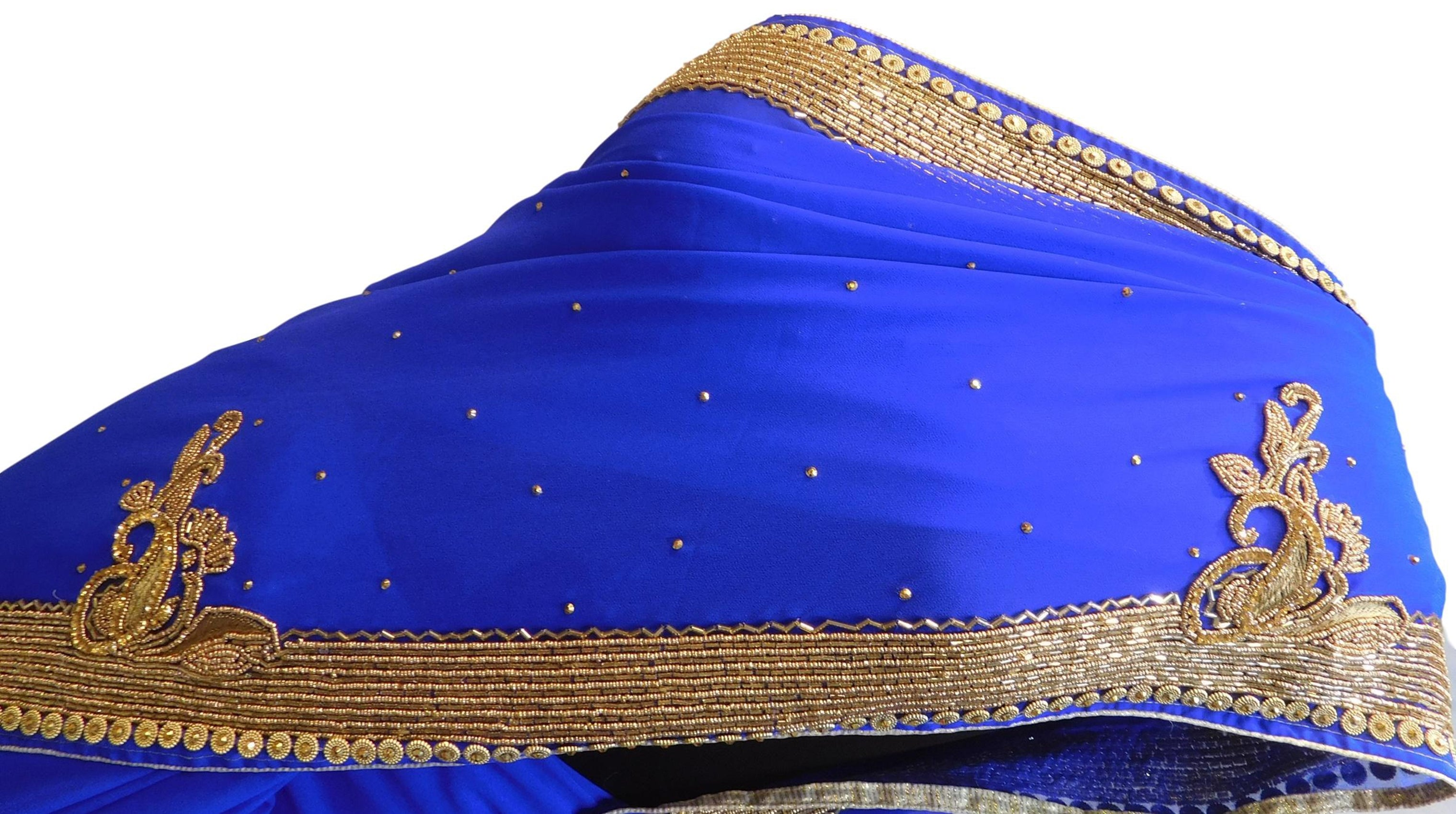 Blue Designer Wedding Partywear Georgette Thread Cutdana Beads Stone Hand Embroidery Work Bridal Saree Sari E069