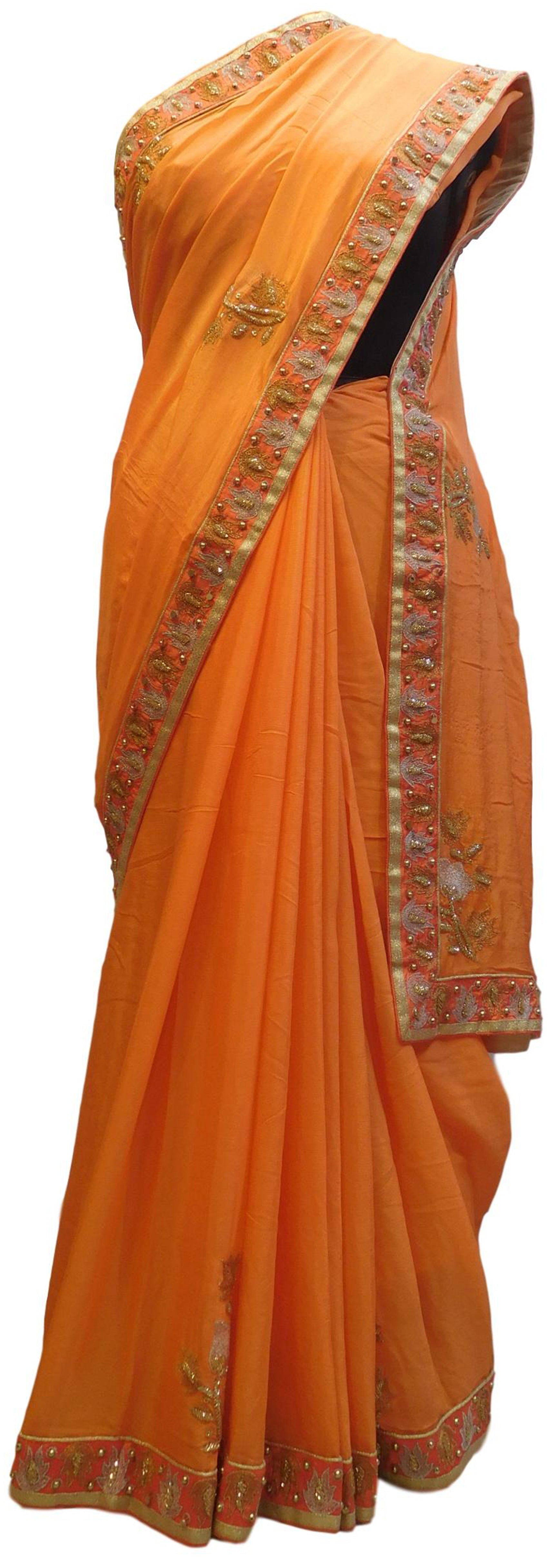 Peach Designer Wedding Partywear Crepe (Chinon) Thread Zari Cutdana Beads Hand Embroidery Work Bridal Saree Sari E080