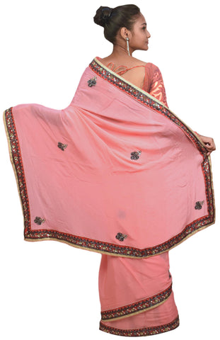 Pink Designer Wedding Partywear Crepe (Chinon) Gota Sequence Cutdana Beads Hand Embroidery Work Bridal Saree Sari E082