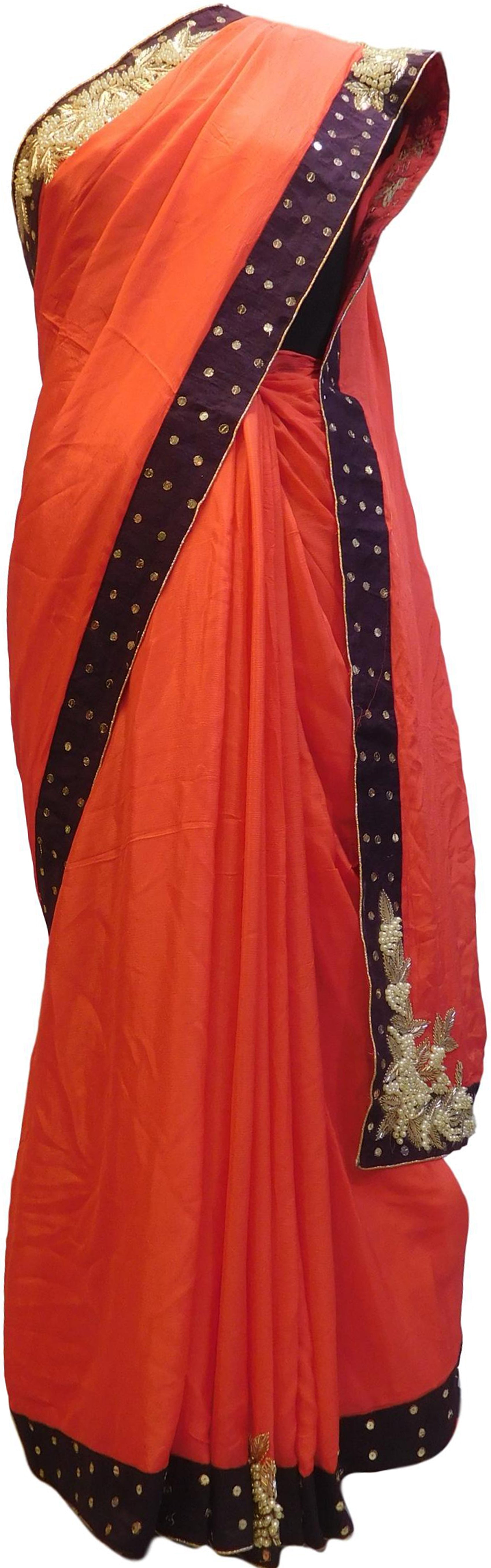 Red Designer Wedding Partywear Crepe (Chinon) Bullion Pearl Sequence Cutdana Beads Hand Embroidery Work Bridal Saree Sari E084