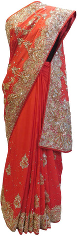 Red Designer Wedding Partywear Crepe (Chinon) Stone Bullion Hand Embroidery Work Bridal Saree Sari E085