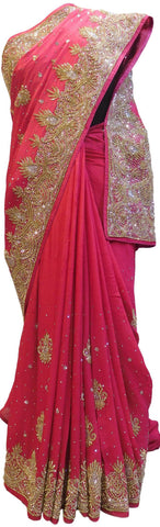 Pink Designer Wedding Partywear Crepe (Chinon) Stone Bullion Hand Embroidery Work Bridal Saree Sari E086