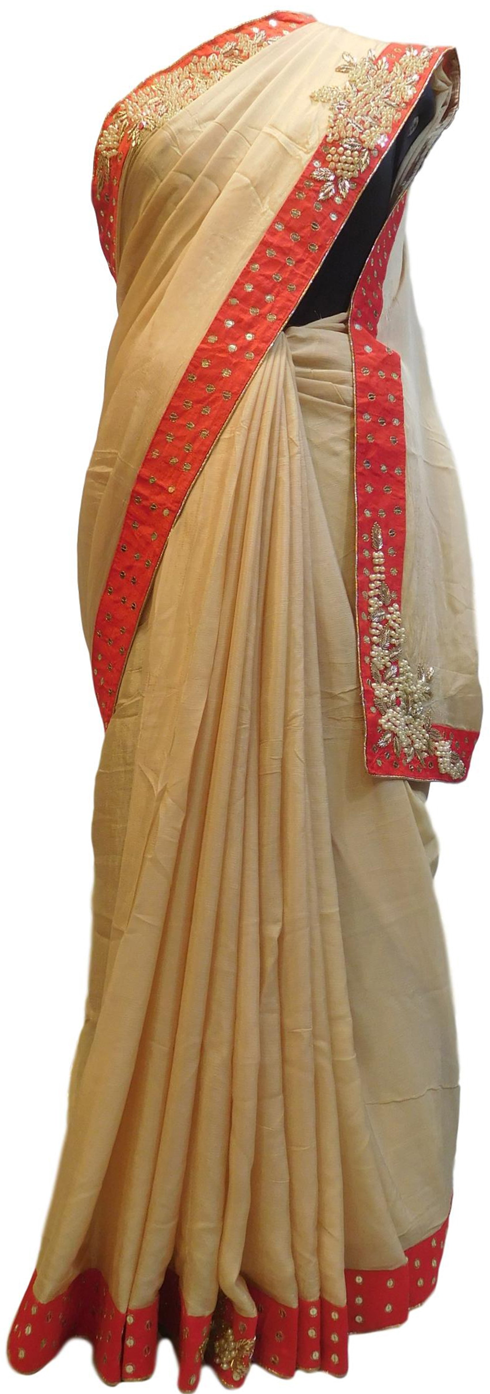 Beige Designer Wedding Partywear Crepe (Chinon) Bullion Pearl Sequence Cutdana Beads Hand Embroidery Work Bridal Saree Sari E087