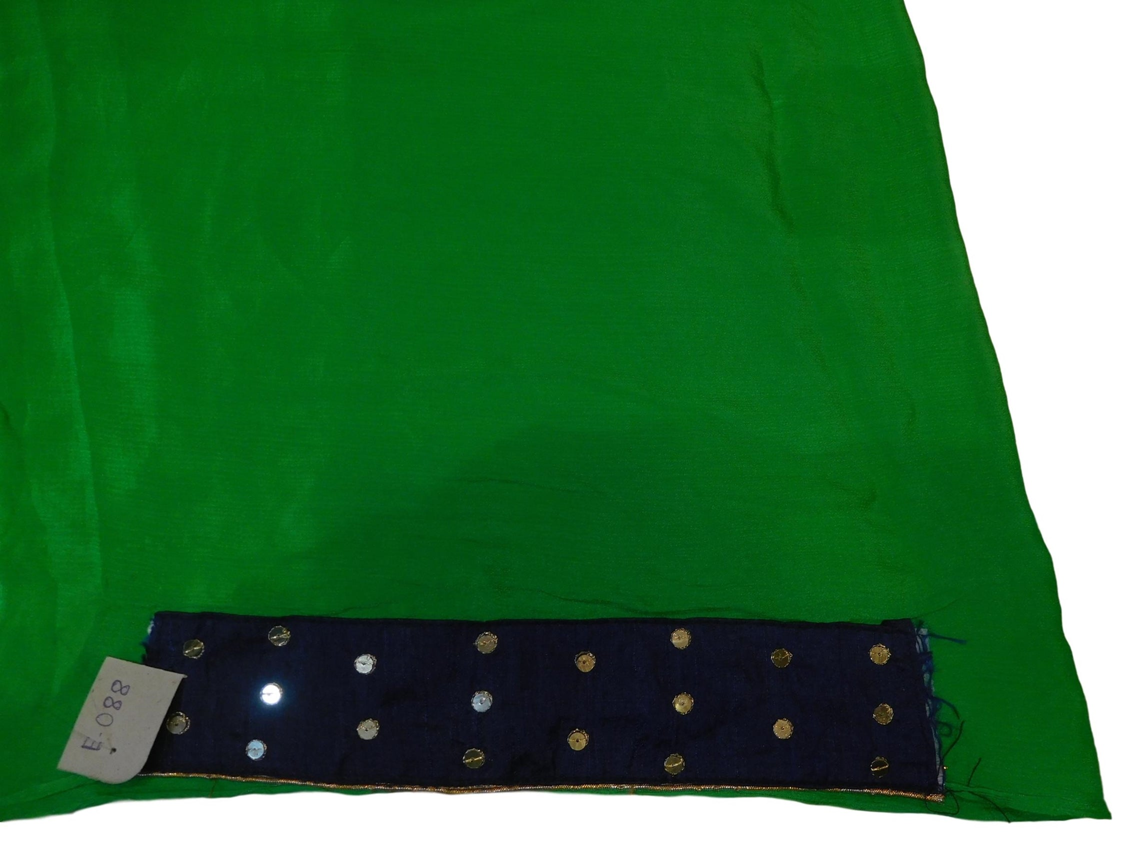 Green Designer Wedding Partywear Crepe (Chinon) Bullion Pearl Sequence Cutdana Beads Hand Embroidery Work Bridal Saree Sari E088