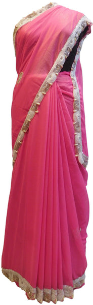 Pink Designer Wedding Partywear Georgette Cutdana Pearl Bullion Stone Hand Embroidery Work Bridal Saree Sari E091
