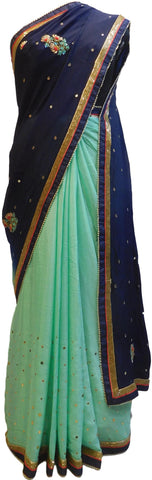 Navy Blue & Turquoise Designer Wedding Partywear Crepe (Chinon) Thread Bullion Pearl Sequence Cutdana Beads Hand Embroidery Work Bridal Saree Sari E094