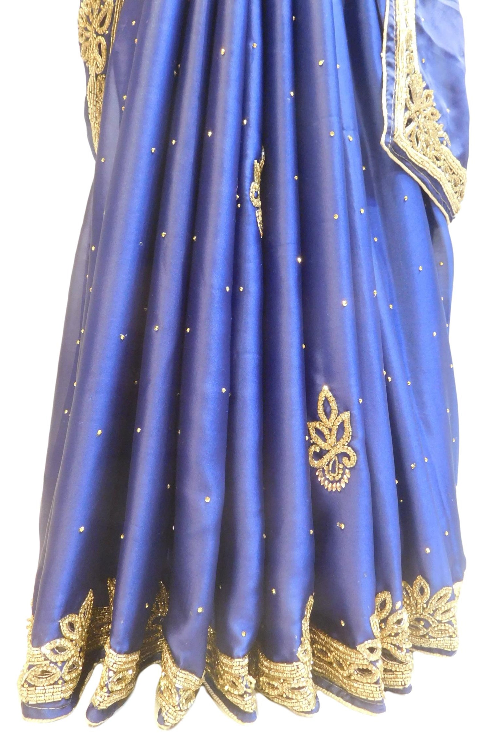 Blue Designer Wedding Partywear Silk Beads Stone Cutdana Hand Embroidery Work Bridal Saree Sari E095