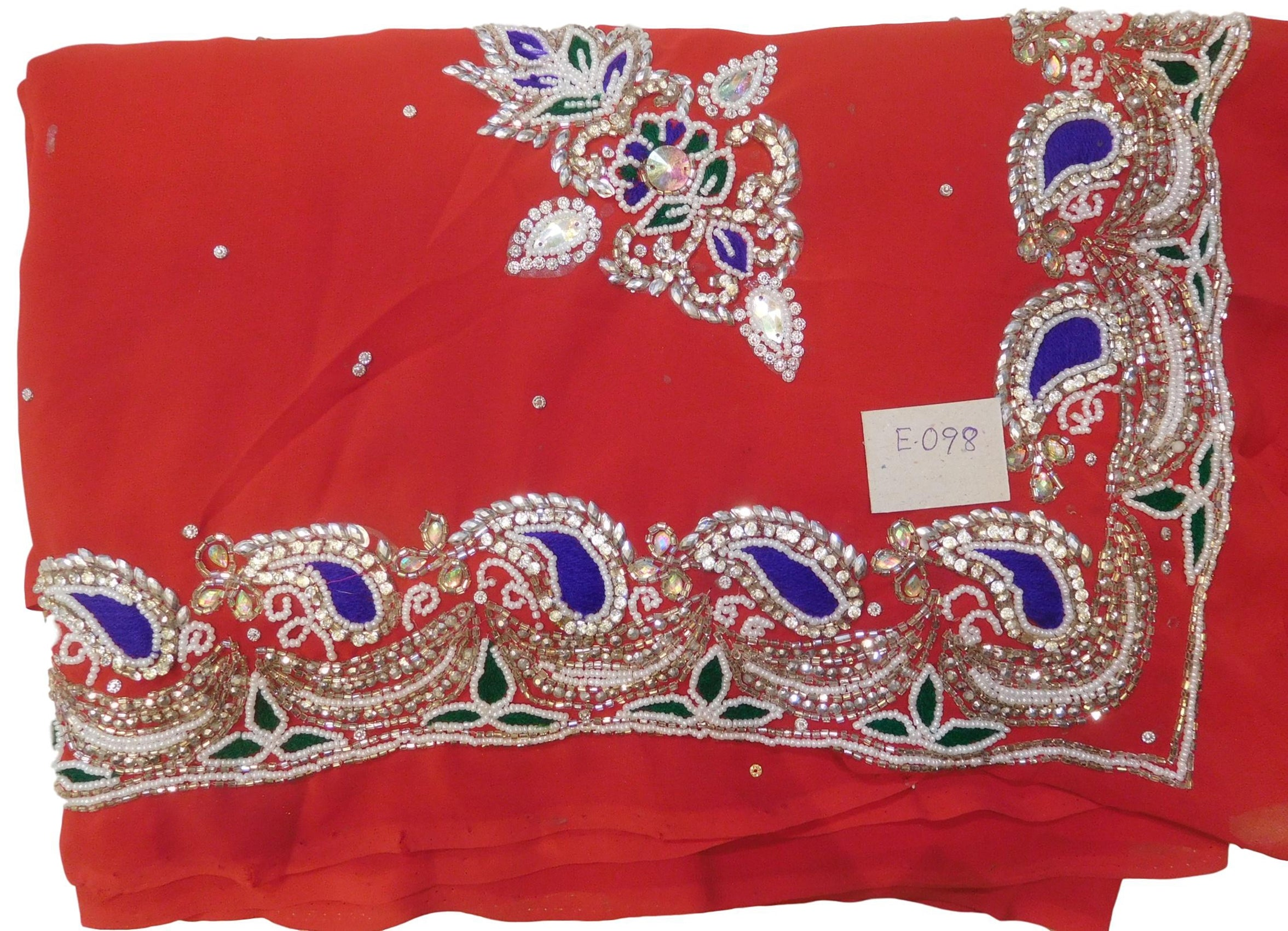 Red Designer Wedding Partywear Georgette Cutdana Thread Stone Hand Embroidery Work Bridal Saree Sari E098
