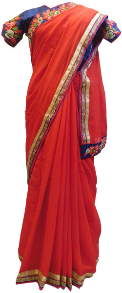 Red Designer Wedding Partywear Georgette (Viscos) Thread Pearl Zari Hand Embroidery Work Bridal Saree Sari With Ready To Wear Blouse E109