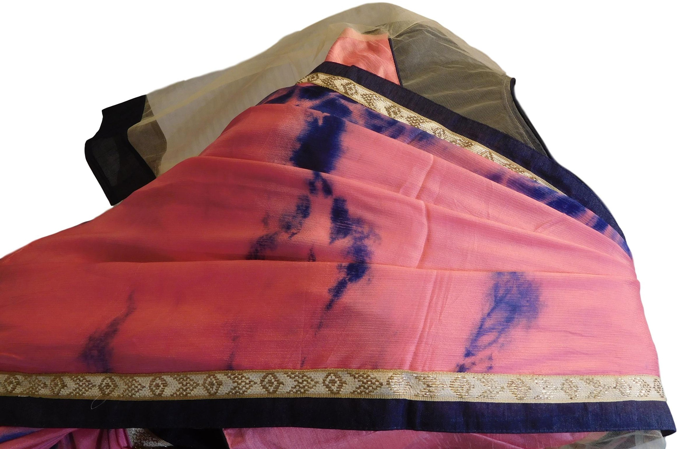 Pink Tie & Die Designer Wedding Partywear Crepe (Chinon) Thread Pearl Zari Hand Embroidery Work Bridal Saree Sari With Ready To Wear Blouse E112