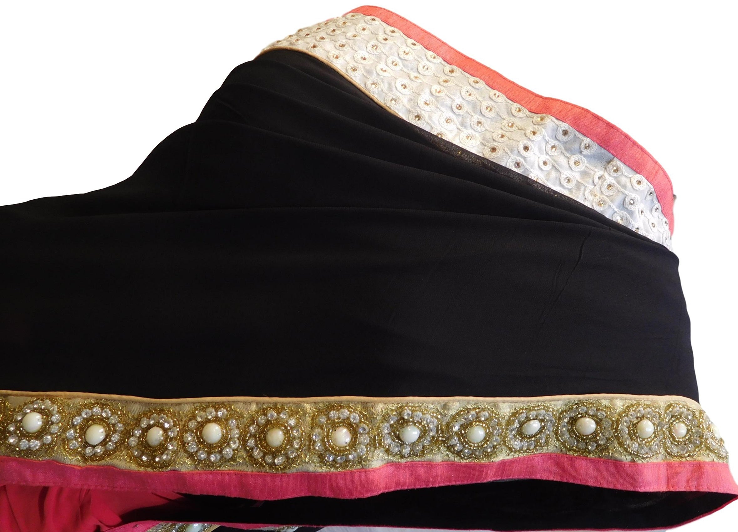 Black & Red Designer Wedding Partywear Georgette (Viscos) Thread Beads Pearl Stone Hand Embroidery Work Bridal Saree Sari E113