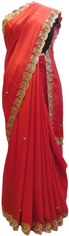 Red Designer Wedding Partywear Crepe (Chinon) Zari Cutdana Beads Pearl Hand Embroidery Work Bridal Saree Sari E116