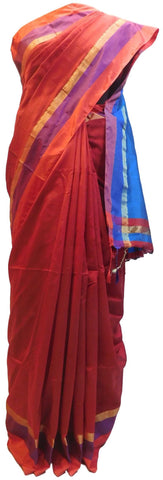 Red & Blue Designer Wedding Partywear Pure Handloom Bengal Bangali Cotton Kolkata Saree Sari E122