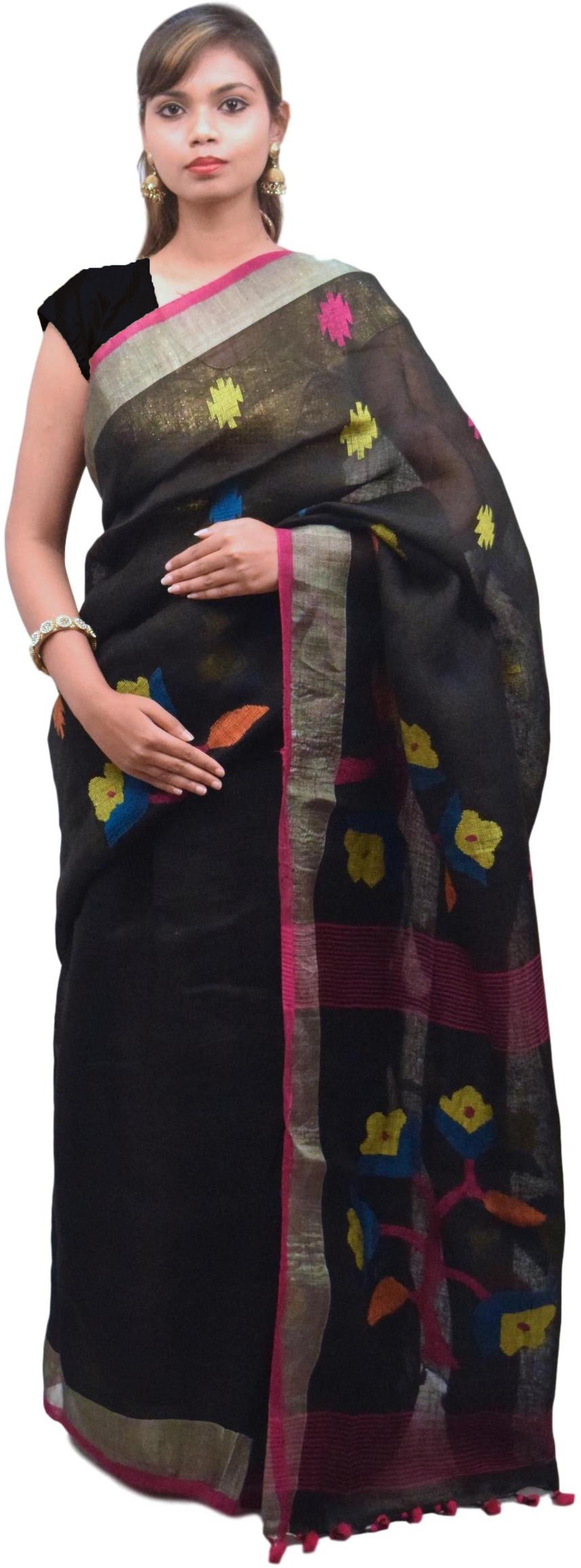 Black Designer Wedding Partywear Pure Handloom Bengal Bangali Cotton Kolkata Saree Sari E125