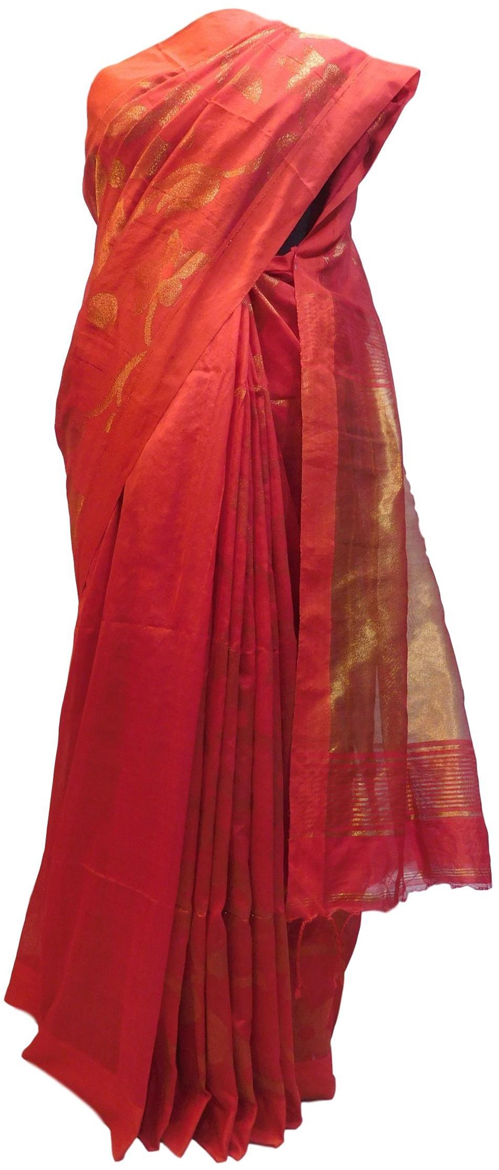 Red Designer Wedding Partywear Pure Handloom Bengal Bangali Cotton Kolkata Saree Sari E126