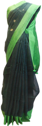 Green Designer Wedding Partywear Pure Handloom Bengal Bangali Cotton Kolkata Saree Sari E127