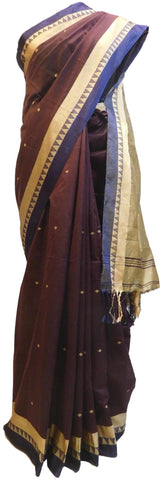 Coffee Brown Designer Wedding Partywear Pure Handloom Bengal Bangali Cotton Kolkata Saree Sari E128