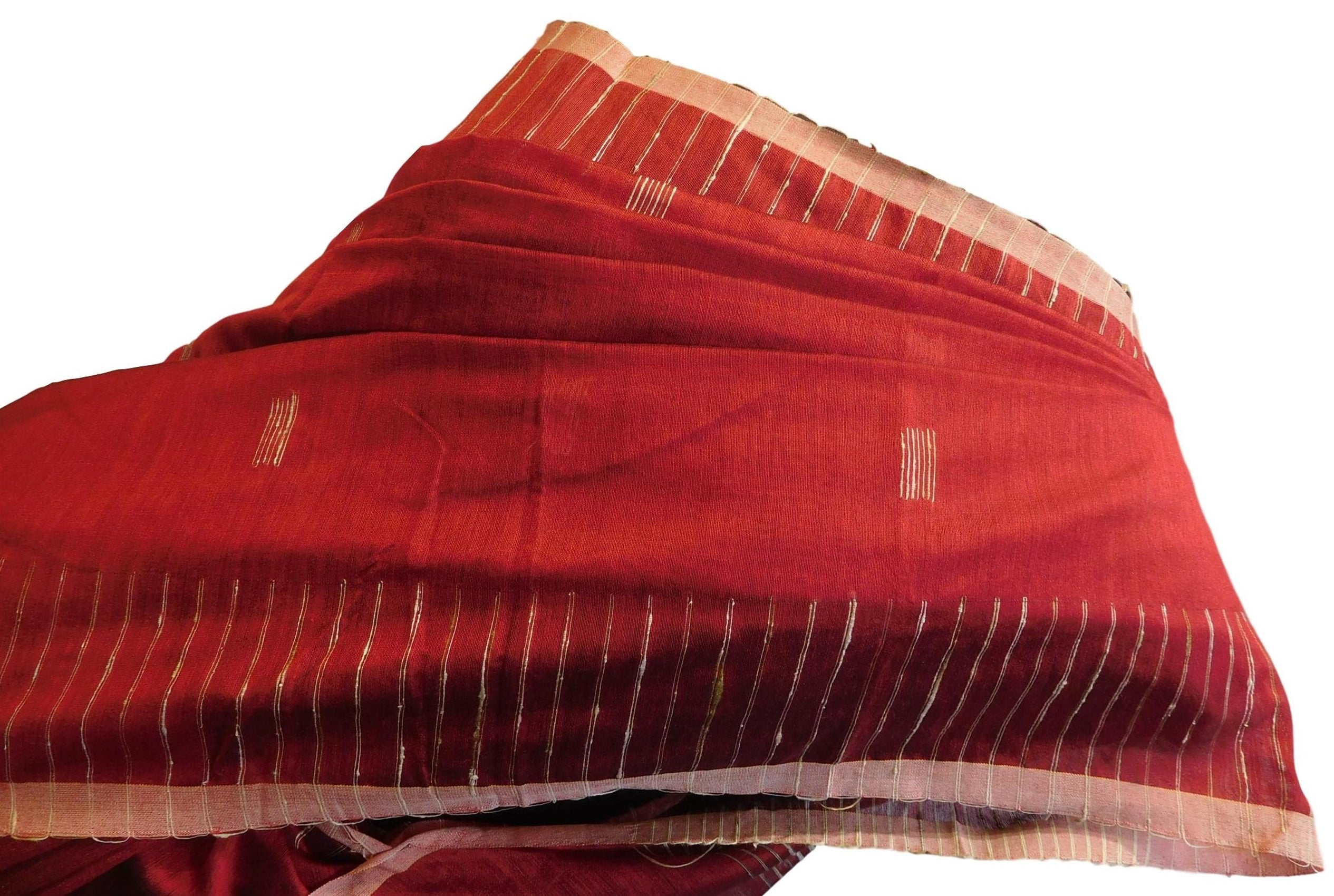 Red Designer Wedding Partywear Pure Handloom Bengal Bangali Cotton Kolkata Saree Sari E129
