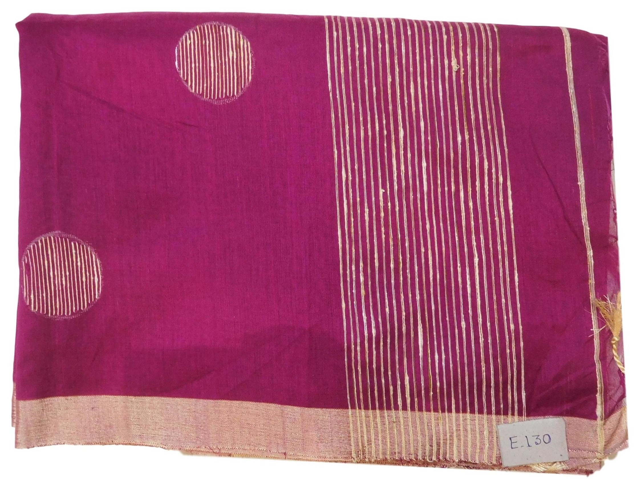 Wine Designer Wedding Partywear Pure Handloom Bengal Bangali Cotton Kolkata Saree Sari E130