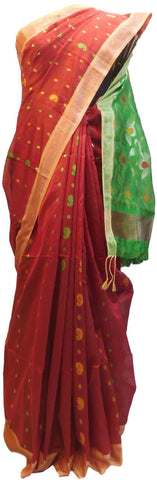 Red & Green Designer Wedding Partywear Pure Handloom Bengal Bangali Cotton Kolkata Saree Sari E131