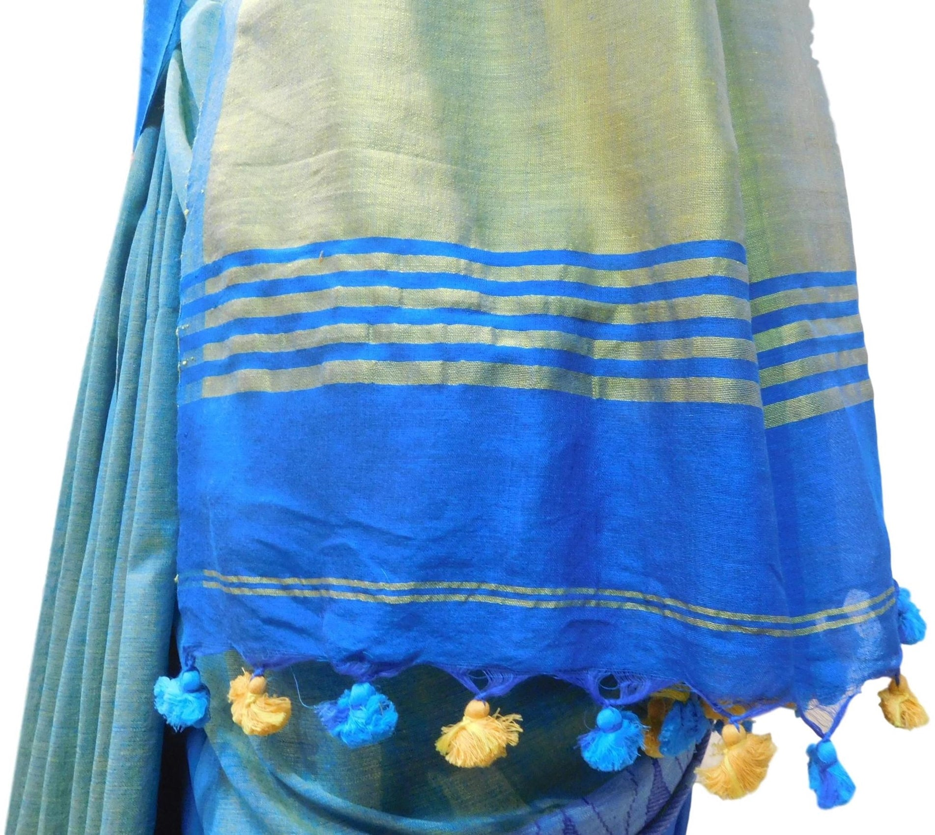 Blue Designer Wedding Partywear Pure Handloom Bengal Bangali Cotton Kolkata Saree Sari E132