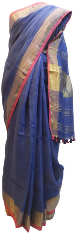 Blue Designer Wedding Partywear Pure Handloom Bengal Bangali Cotton Kolkata Saree Sari E133