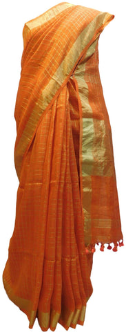 Orange Designer Wedding Partywear Pure Handloom Bengal Bangali Cotton Kolkata Saree Sari E134