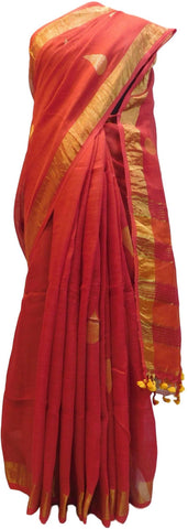 Red Designer Wedding Partywear Pure Handloom Bengal Bangali Cotton Kolkata Saree Sari E135