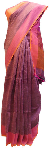 Wine Designer Wedding Partywear Pure Handloom Bengal Bangali Cotton Kolkata Saree Sari E136
