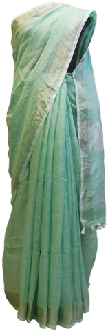 Green Designer Wedding Partywear Pure Handloom Bengal Bangali Cotton Kolkata Saree Sari E137