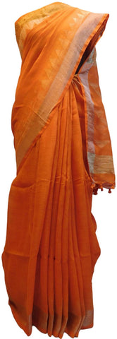 Orange Designer Wedding Partywear Pure Handloom Bengal Bangali Cotton Kolkata Saree Sari E138