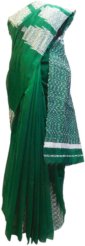 Green Designer Wedding Partywear Pure Handloom Bengal Bangali Cotton Kolkata Saree Sari E139