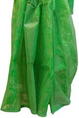 Green Designer Wedding Partywear Pure Handloom Bengal Bangali Cotton Kolkata Saree Sari E140