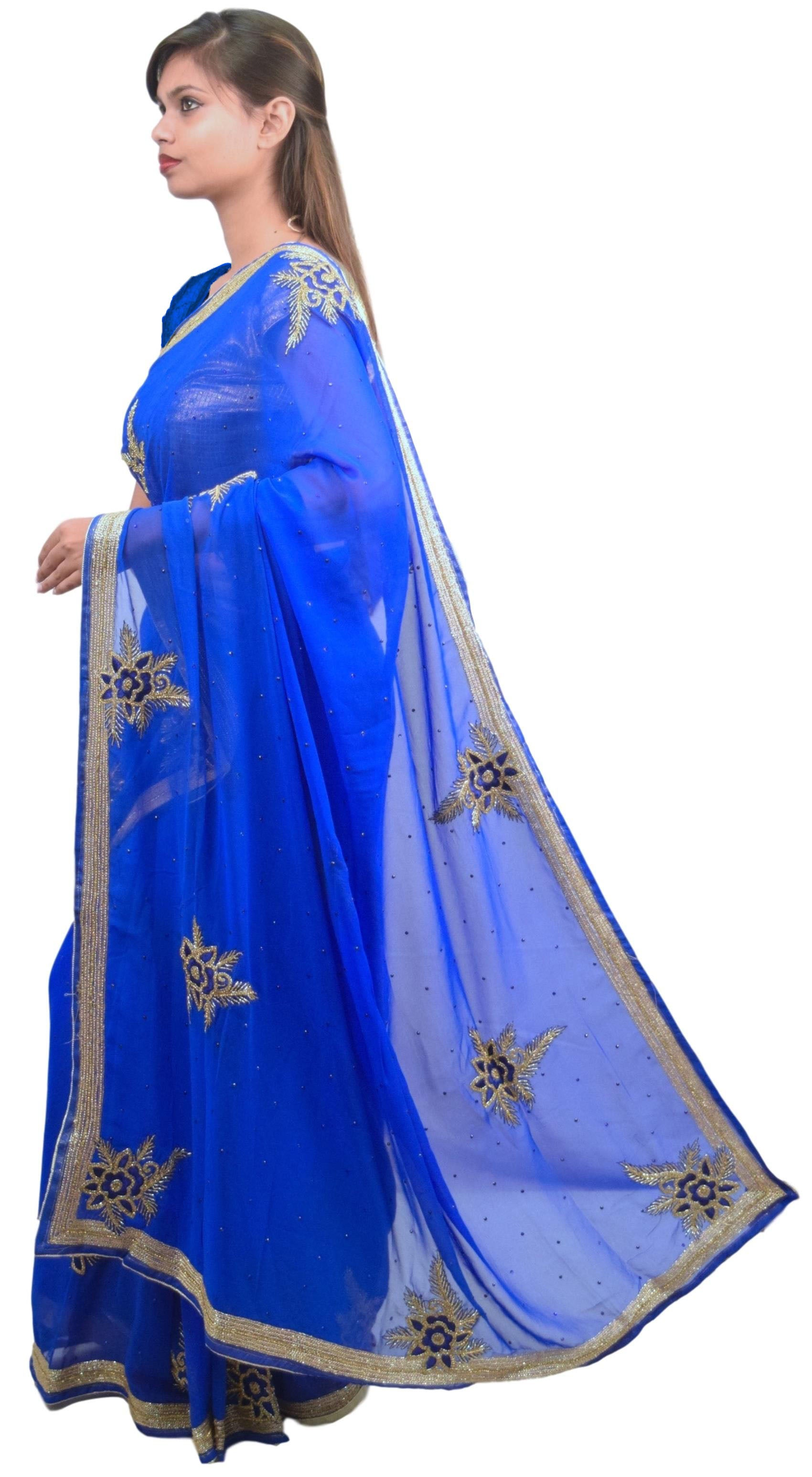 Blue Designer Wedding Partywear Georgette Hand Embroidery Cutdana Zari Thread Stone Work Kolkata Saree Sari E141