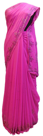 Pink Designer Wedding Partywear Georgette Hand Embroidery Cutdana Stone Thread Work Kolkata Saree Sari E148