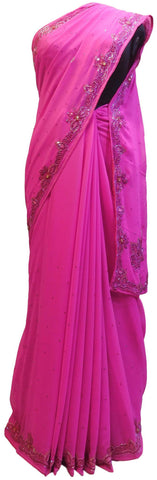 Pink Designer Wedding Partywear Georgette Hand Embroidery Cutdana Stone Thread Work Kolkata Saree Sari E150
