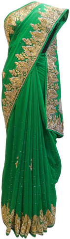 The Show Stopper Green Designer Bridal Georgette Hand Embroidery Work Saree Sari E151