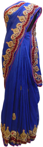Blue Designer Wedding Partywear Georgette (Viscos) Beads Zari Thread Cutdana Bullion Stone Hand Embroidery Work Bridal Saree Sari E153