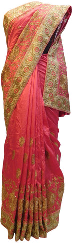 Pink Designer Wedding Partywear Silk Hand Embroidery Zari Cutdana Stone Thread Work Kolkata Saree Sari E161
