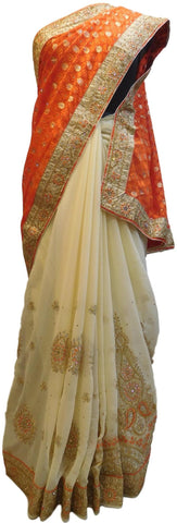 Orange & Cream Designer PartyWear Brasso & Georgette Cutdana Pearl Thread Zari Stone Work Saree Sari E164