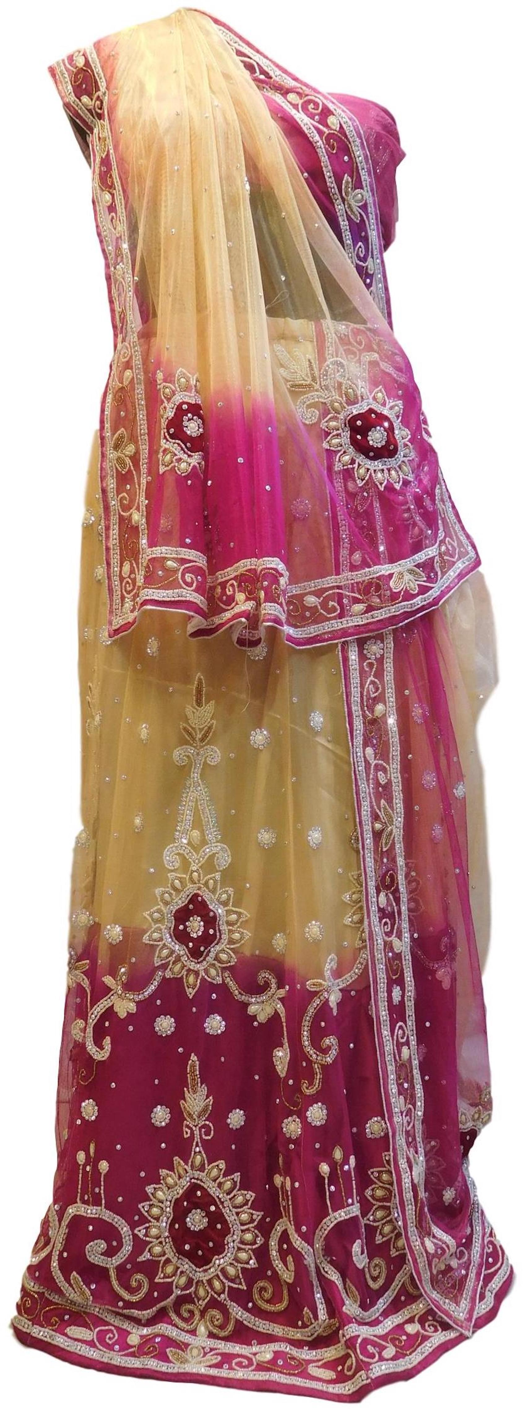Cream & Pink Designer Wedding Partywear Net Bullion Beads Stone Pearl Hand Embroidery Work Bridal Lahenga Choli Dupatta Semistitched LAE171
