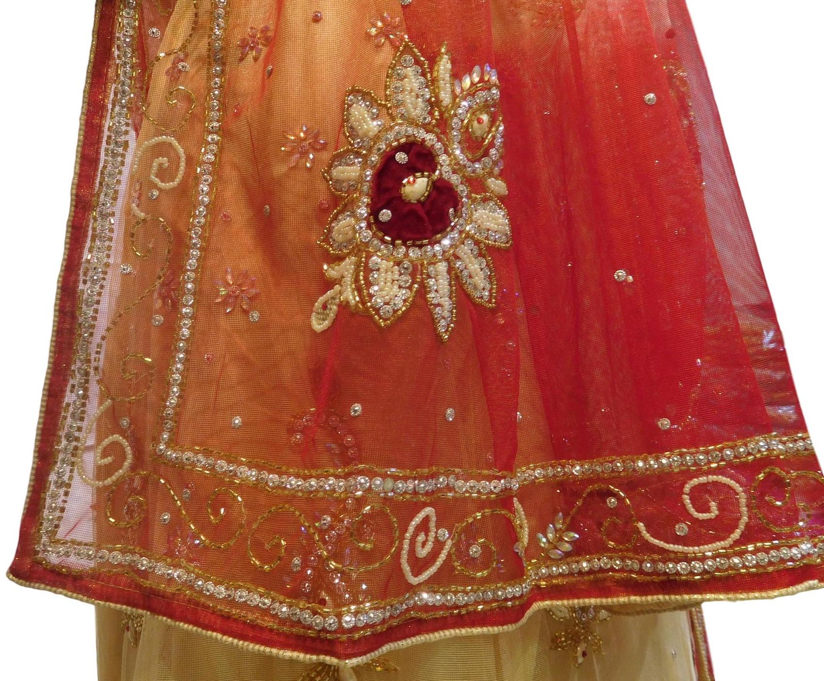 Cream & Red Designer Wedding Partywear Net Bullion Beads Stone Pearl Hand Embroidery Work Bridal Lahenga Choli Dupatta Semistitched LAE174